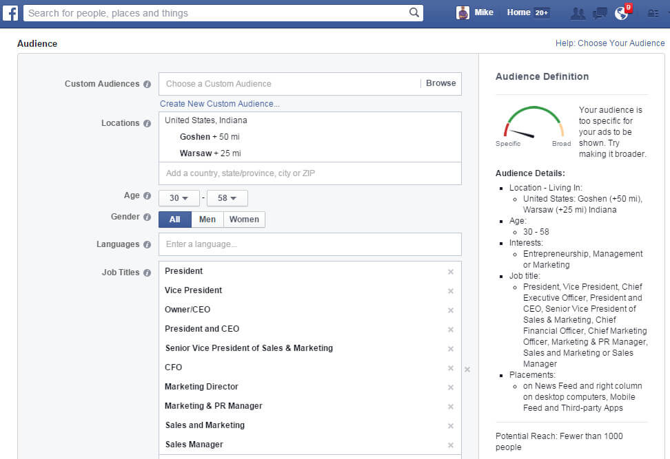 Facebook ads audience targeting